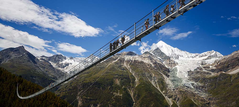 Hike in Switzerland on the longest suspension bridge in the world