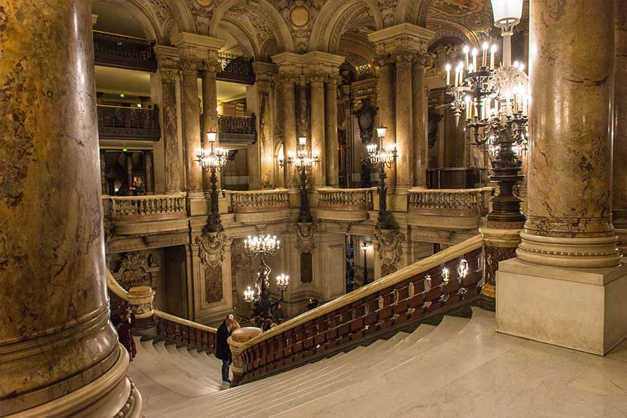 Ballets in Paris and lyrical art in the gildings of the Opera Garnier great staircase