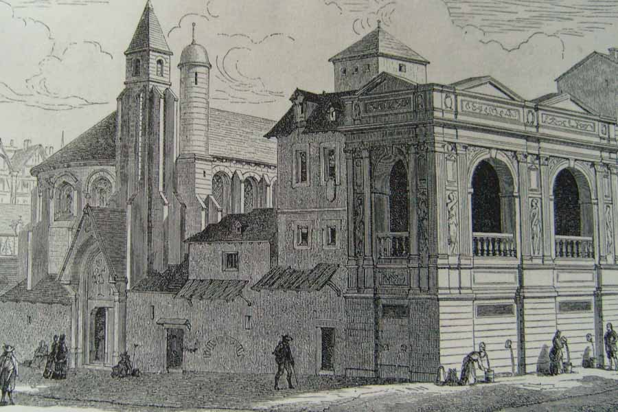 gravure ancient état de la fontaine Huyot