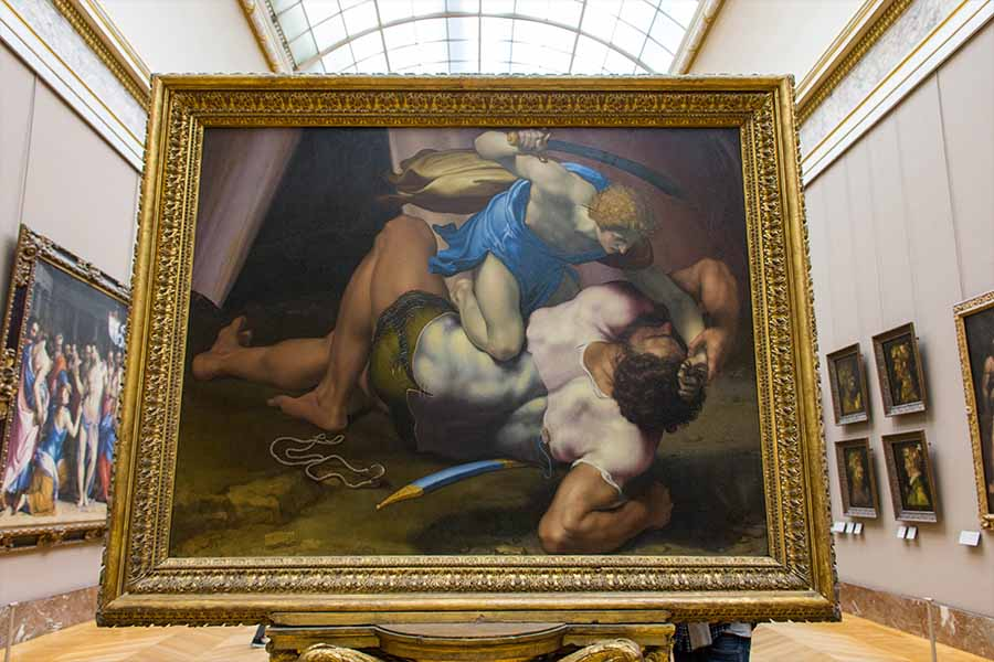 painting david and goliath in the Louvre by da volterra